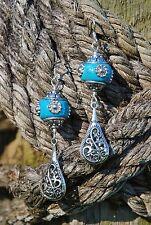 Western Rodeo Cowgirl Handmade Artisan Earrings - Filegree Teardrop & Bali Bead