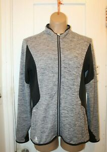 ADIDAS Puremotion Golf Women's Medium Full Zip Jacket Gray Black Thumbholes