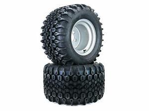 (2) Aggressive Deep Lug Tire Assemblies for Hustler Raptor SD 54 60 20x12.00-10