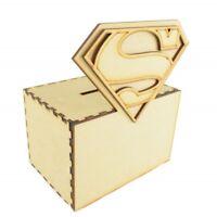 MDF Wooden Craft Superhero Money Savings Box Fund Kids Coins Piggy Bank - D223