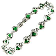 Melina Jewelry Charming Green Emerald Heart White Gold Gp Tennis Bracelet New