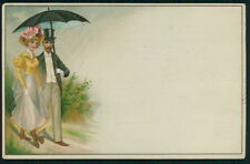man and prostitute woman risque HTL original hold to light old 1900s postcard