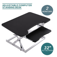 Ergonomic Height Adjustable Standing Desk Sit Stand Desk Top Desk Riser BLK&WH