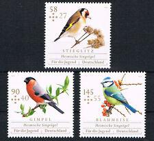 3023 - 3025 ** BRD 2013,  Jugend. Heimische Singvögel;Stieglitz,Gimpel,Blaumeise