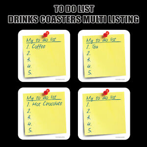 My 'To Do' List - Novelty Drinks Coasters / Bar Mat - Hardboard / Gloss Finish