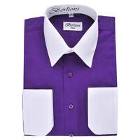 Berlioni Men's Regular Fit Two Tone Dress Shirt Purple