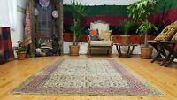 """Exquisite Vintage 1939-1950s Natural Dye 4'10""""×7'2"""" Wool Pile Bunyan Rug"""