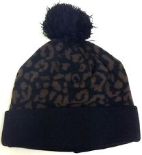 CHEETAH PATTERN LEOPARD PRINT CUFFED POM BEANIE KNIT CAP WINTER HAT SKI BLACK