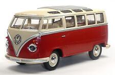 NEU: VW Bus Bulli T1 (Samba) 1:24 rot Modellauto ca. 17,5cm KINSMART Neuware!