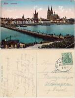 Ansichtskarte Köln Panorama mit Schwimmbrücke 1911