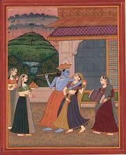 Krishna Radha Handmade Art India Pahari Miniature Religious Ethnic Folk Painting