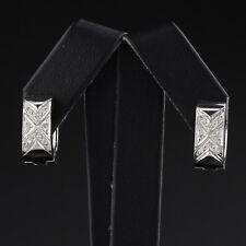 Vintage Estate 14K White Gold Diamond Huggie Earrings