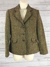 Talbots Petites Green Multi Tweed Leather Button Front Blazer Jacket Size 6