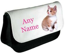 Personalised Cute KITTEN/CAT Pencil Case/Make Up Bag *Choice of text colour*