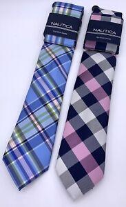 Lot Of 2 Nautica Tie & Pocket Square Pink Blue Black Plaid NWT New