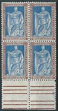 1928 REGNO FILIBERTO VITTORIA 20 CENT D. 11 QUARTINA MNH ** - T154