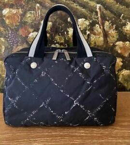 Chanel Old Travel Line Mini Boston Handbag Nylon Black Red Interior