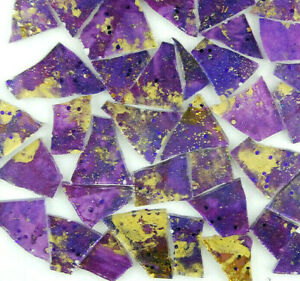 100 PURPLE with METALLIC GOLD Colored glass pieces  by Makena Tile