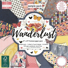 Dovecraft Wanderlust 8 x 8 Sample paper pack 200 gsm 1 of each design 16 sheets