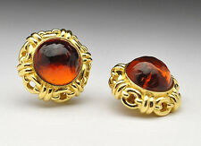 Vnt. CINER signed Lg Haute Couture - Poured Amber Glass Chain Link Clip Earrings
