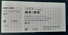 ticket billet UNUSED place concert AC/DC 1981 Besançon FRANCE