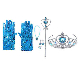 Princess Dress Up Party Costume Tiara Wand Gloves Set Necklace Earings Cosplay