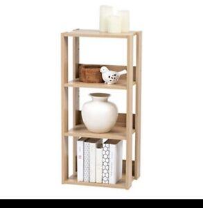 3-Shelf Open Wood Shelving Unit bookshelf OWR-400 natural IRIS 066
