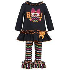 Bonnie Jean Little Girls Boo Bow Owl Halloween Fall Black Legging Set 4 5 6 6X
