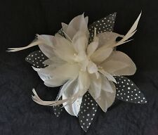 Ivory Cream Hair Flower Fascinator Comb Weddings Christenings Hen Nights Parties