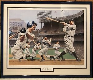 New York Yankees Legends Alan Zuniga Lithograph Ruth DiMaggio Mantle Gehrig