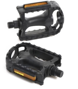 """Black Bicycle Pedals Standard Curved 9/16"""" Strong Plastic Reflective Bike Pedal"""