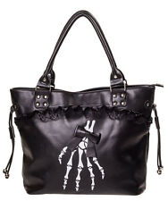 Banned Gothic Skeleton Hand Bones Shoulder Bag Lace Handbag Halloween Black