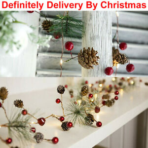 7ft Christmas Pine Cone LED String Light Fairy Battery Copper Tree Garland Decor