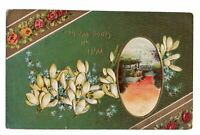 1915 With All Good Wishes Embossed Postcard Printed in Germany White Flowers