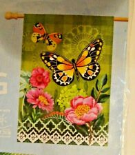 """New listing Butterflies with Pink Flowers BreezeArt 28"""" x 40"""" House Yard Flag 91656 Nip"""