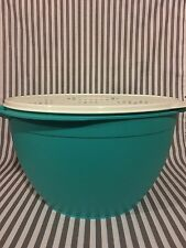 Tupperware Mega Mixing Bowl 42 Cups Teal w/ White Seal  Flower Desing