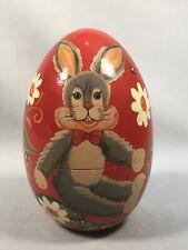 Pv04993 Vintage Painted Wooden Egg Trinket Box Easter Bunny Floral