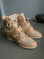 Ash Bixi  Wedge Trainer High Boots Leather Suede  Beige & Gold Ltd Edition ! 6