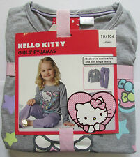 NEUF filles Pyjama Ensemble Hello Kitty 2-4 an coton haut manches longues