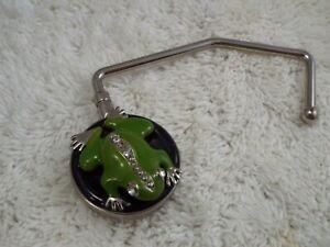 Vintage Rhinestone Green Frog Purse Handbag Table Hook Holder (A62)