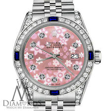 Rolex 36mm Datejust Peach Flower Sapphire Diamond Bezel Stainless Steel Jubilee