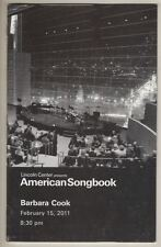 "Barbara Cook  ""American Songbook""  Concert Playbill  2011  Lincoln Center"