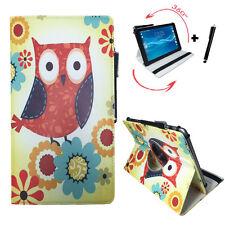 10.1 zoll Tablet Tasche - Fujitsu Stylistic Q550 Hülle - 360° Blumen Eule Motiv
