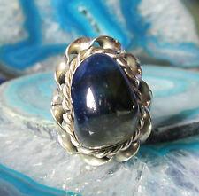 Ring Alpaka Silber Stein Achat blau aus Peru Ethno Indianer Inka Maya Stil 18