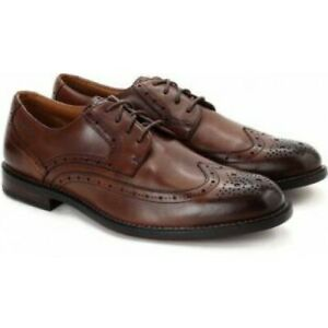 Clarks Men Dorset Limit Chestnut Premium Leather Brogue Smart Shoes UK 7.5