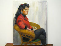 OIL ON CANVAS PAINTING - PORTRAIT OF YOUNG WOMAN IN CHAIR - SIGNED