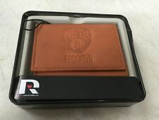 Rico Industries NBA Basketball Brooklyn Nets Embossed Leather Trifold Wallet