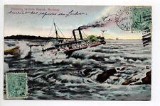 CANADA carte postale ancienne MONTREAL bateau shooting Lachine rapids