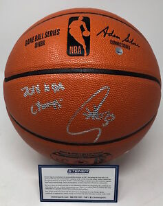 """STEPHEN CURRY Autographed """"2018 NBA Champs"""" Spalding Basketball STEINER"""