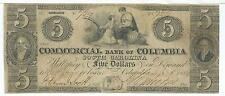 South Carolina Commercial Bank Columbia $5 1854 issued cut cancelled G2 #729